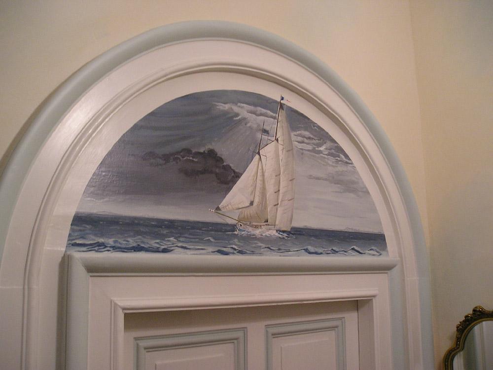 Trompe l 39 il fresque tissu coll et tendu papier peint for Peinture interieur bateau